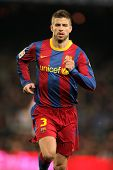 BARCELONA - FEB 20: Pique of Barcelona during the match between FC Barcelona and Athletic de Bilbao