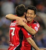 BARCELONA - MAR 1: Akihiro Ienaga (R) of Mallorca celebrates goal during the match between Espanyol