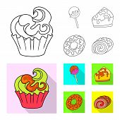 Vector Illustration Of Confectionery And Culinary Icon. Collection Of Confectionery And Product Stoc poster
