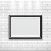 Frame On Wall. Modern Picture Frame For Painting Or Photo Advertising Poster On Canvas Vector Realis poster
