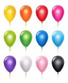 Colored Balloon. Birthday Party Decoration Vector 3d Realistic Balloons. Illustration Of Realistic A poster
