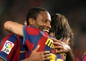 BARCELONA - OCTOBER 25: Malian Midfielder Seydou Keita of Barcelona celebrates goal during Spanish l