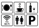 Useful Icon For Restaurant-coffee Icon,alcohol Allowed Sign,free Wifi Sign,washroom Sign,vehicle Par poster