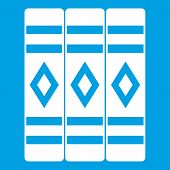 Three Literary Books Icon White Isolated On Blue Background Illustration poster