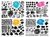 Set Stroke Spot Blod. Brush, Pen, Marker, Chalk. Black White. Vector Distressed Grunge Modern Textur poster