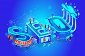 Vector 3d Neon Isometric Word Seo On Gradient Blue Neural Network Background. Little People At Huge  poster