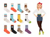 Woman Socks. Female Warm And Casual Socks Collection. Cartoon Character Cute Girl Vector Design With poster