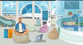 Businessman On Trip Or Traveling Freelancer Comfortably Meditating In Airport Recreation Area With M poster