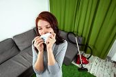 Beautiful Girl With A Napkin, Sneezing From Dust. A Young Woman Looking Desperately Sick, Breathing poster