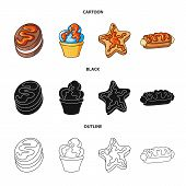 Vector Design Of Confectionery And Culinary Logo. Collection Of Confectionery And Product Stock Symb poster