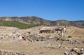 Ancient City Of Hierapolis, Pamukkale, Turkey. Historical Sites, Ancient Building, Famous Turkey Lan poster