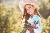 Summer Day. Natural Beauty And Spa Therapy. Spring Woman. Springtime And Vacation. Summer Girl With  poster