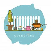 Concept Of Gardening Or Agriculture . Garden Tools. Banner With Summer Garden Landscape Cute Cartoon poster