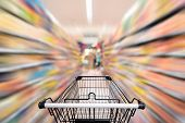 Abstract Defocus Blurred Of Consumer Goods In Supermarket Grocery Store., Business Retail And Custom poster