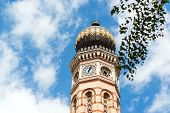Clock Tower Of The Great Synagogue Of Budapest, Against Sky Background. Travel In Hungary. Summer Va poster