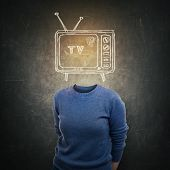 Surreal Young Addicted Woman Anonymous And Tv Icon Sketch Instead Of Head Over Blackboard Background poster