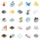 Voyage Icons Set. Isometric Set Of 25 Voyage Icons For Web Isolated On White Background poster