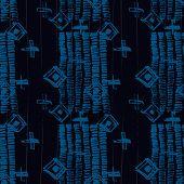 Tie Dye Japanese Geometric Simple Seamless Pattern. Boho Tie Dye Wash Batik. Geo Wabi Sabi Bohemian  poster