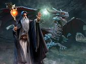 Wizard And Dragon Night Scene 3d Illustration poster