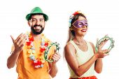 Brazilian Carnival. Couple In Costume Enjoying The Carnival Party On White Background poster