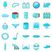 Beachwear Icons Set. Cartoon Set Of 25 Beachwear Icons For Web Isolated On White Background poster