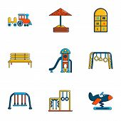 Outdoor Entertainment Icons Set. Flat Set Of 9 Outdoor Entertainment Icons For Web Isolated On White poster