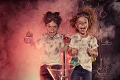 Funny school children doing experiments in the laboratory. Explosion in the laboratory. Science and  poster