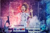 Funny little girl doing experiments in the laboratory. Explosion in the laboratory. Science and educ poster