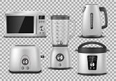 Kitchen Appliances. Realistic Microwave, Kettle, Blender, Oven, Juicer, Toaster, Multicooker Silver  poster