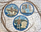 foto of beatitudes  - Mosaic in front of the church on the Mount of Beatitudes - JPG