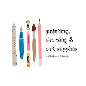 Colorful Hand Made Art Supplies Design. Perfect Emblem For Artists Materials Shop. Flat Style Hand D poster