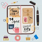Hand Drawn Flat Style Travel Journaling Layout. Art Journal Essentials - Sketchbook In Cover With St poster