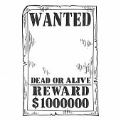 Wanted Criminal Reward Poster Template Engraving Vector Illustration. Scratch Board Style Imitation. poster