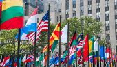 Rows Of Flags Of All Nations Next To Un In New York City. Usa poster