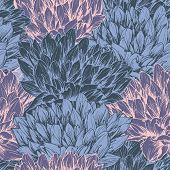 Peony Hand Drawn Seamless Pattern. Floral Ink Pen Color Texture. Sketch Flowers Color Illustration.  poster