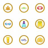 Water Recreation Icons Set. Cartoon Set Of 9 Water Recreation Icons For Web Isolated On White Backgr poster
