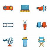 Private Movie Event Icons Set. Cartoon Set Of 9 Private Movie Event Icons For Web Isolated On White  poster