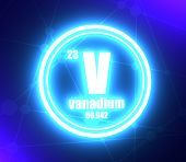 Vanadium Chemical Element. Sign With Atomic Number And Atomic Weight. Chemical Element Of Periodic T poster
