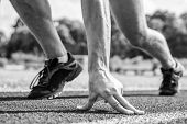 Runner Ready To Go Close Up. Ready Steady Go Concept. At Beginning Of Great Sport Career. Hand Touch poster