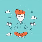 Young Man Businessman,office Worker Relaxes And Meditates In Sky In Lotus Position. Vector Modern St poster