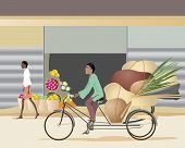 foto of rickshaw  - an illustration of an asian man riding on a cycle rickshaw through a town with a heavy load - JPG