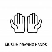 Muslim Praying Hands Icon Isolated On White Background. Muslim Praying Hands Icon Simple Sign. Musli poster