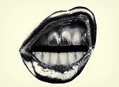 Angry Female Express Emotions By Lips. Lip Make Up With Golden Lipstick. Open Mouth And White Teeth. poster
