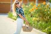 Sunny Lifestyle Fashion Portrait Of Young Stylish Hipster Woman Walking, Oung Pretty Woman Outdoor S poster