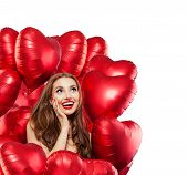 Happy Surprised Woman With Red Balloons Isolated On White Background. Surprised Girl With Red Lips M poster