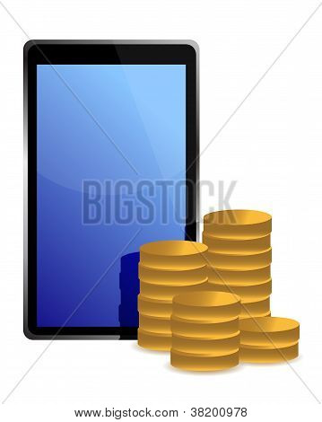 Tablet And Coins Around Illustration