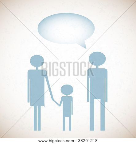Grunge background with family and say bubble
