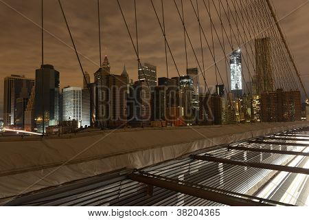 View Of Lower Manhattan Following Power Outage From Brooklyn Bridge.
