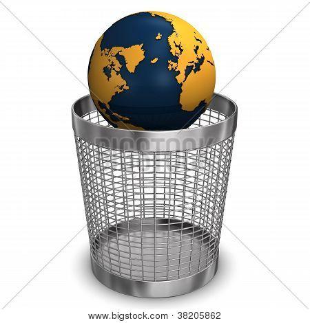 Globe In Wastebasket