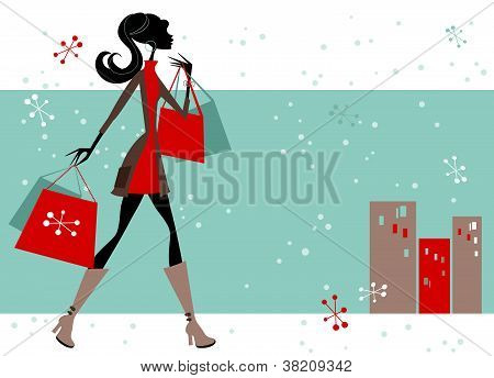 Woman Shopping Winter Background